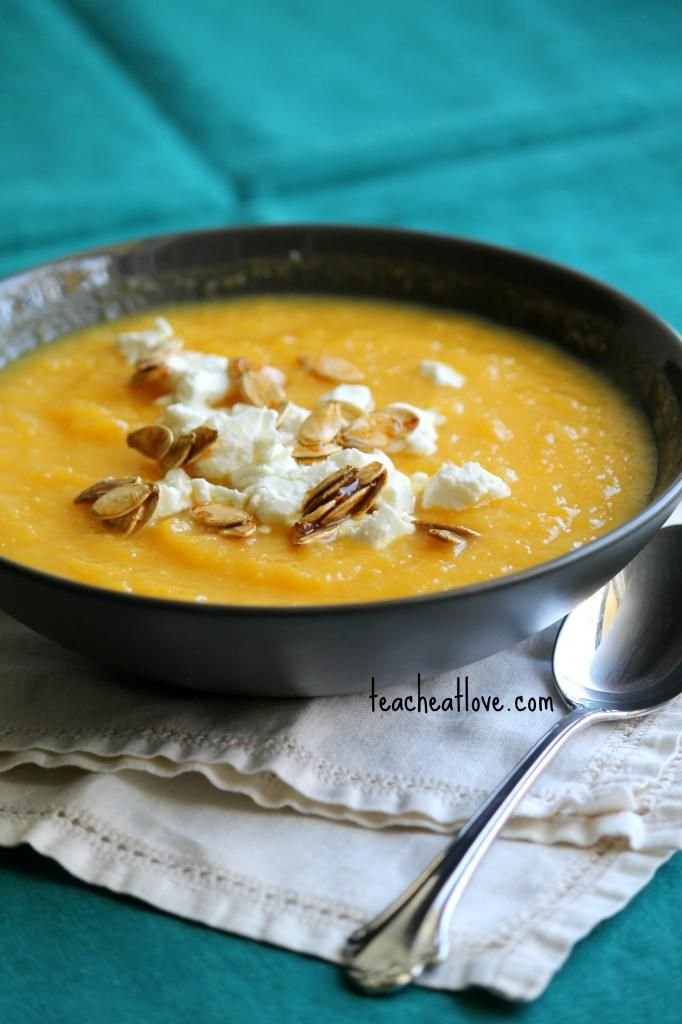 Calabaza Pumpkin Soup with Maple Roasted Pumpkin Seeds and Goat Cheese