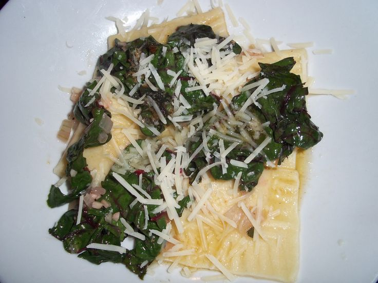 ... with Swiss chard, onions, and a brown butter sage sauce. Delicious