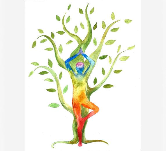 Yoga with Tree original watercolor painting Yoga art with ...