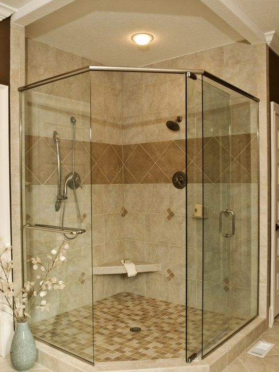 Corner shower design glass for the home pinterest - Bathroom remodel corner shower ...