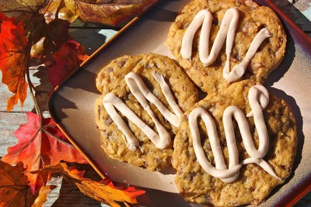 Pumpkin Toffee Cookies with Salted Caramel Glaze Kiki & Company —