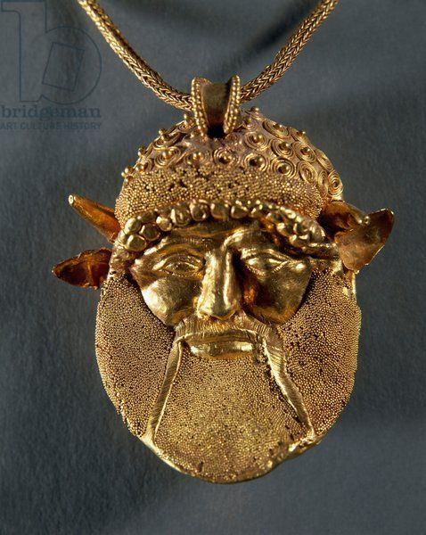 Goldsmithery  gold necklace with pendant head of river god Achelous    Achelous River God
