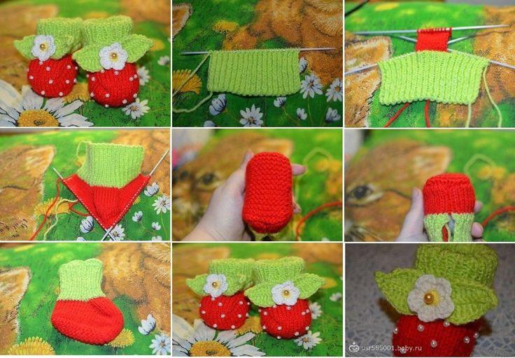 Вязание на спицах пинетки ягодки