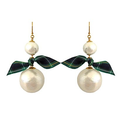 Tartan Pearl Drop Earrings