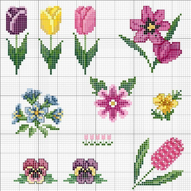 Цветы схема вышивки крестом простая схема 27