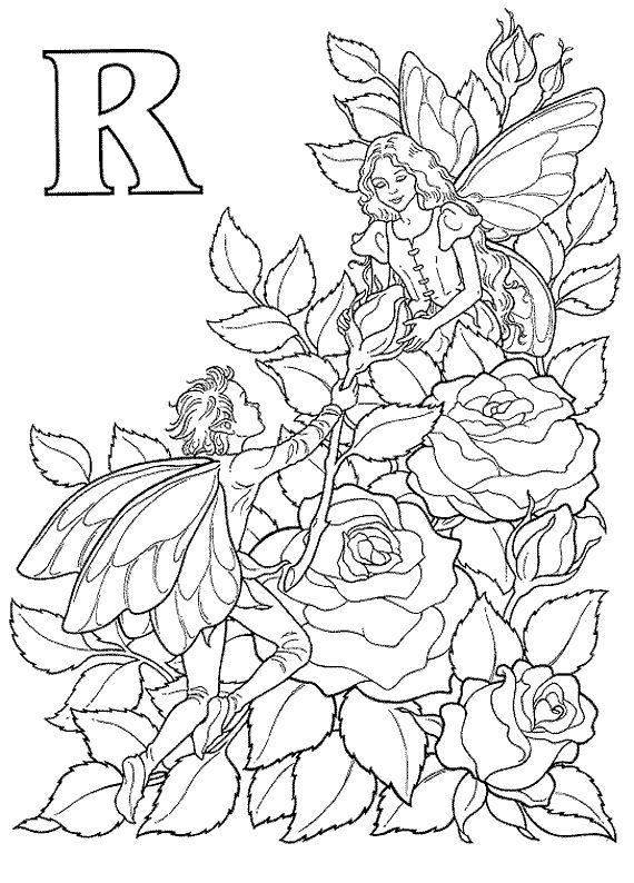 Flower Fairies Colouring : Flower fairy coloring page kids book