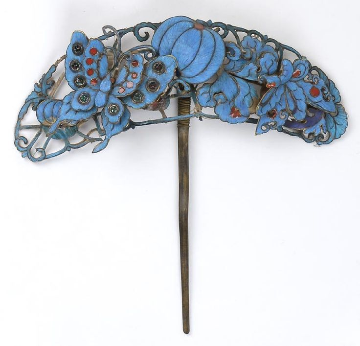 Splendid Chinese Hair Pin with Kingfisher Feather, Qing