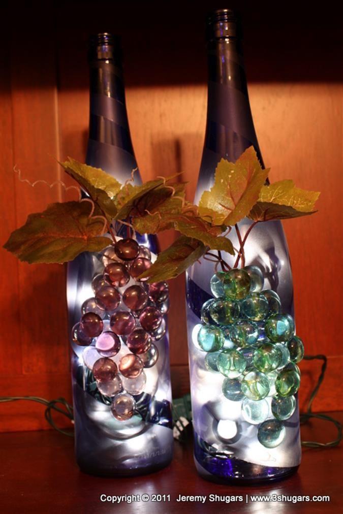 Bing wine bottle crafts with lights crafty pinterest for Lighted wine bottle craft
