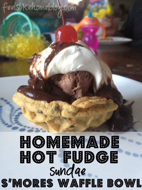 mores Waffle Bowl Sundae with Homemade Hot Fudge on http://www ...