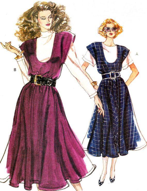 1980s Dress Pattern Vogue 7555 U Neck Flared Skirt by paneenjerez, $10.00