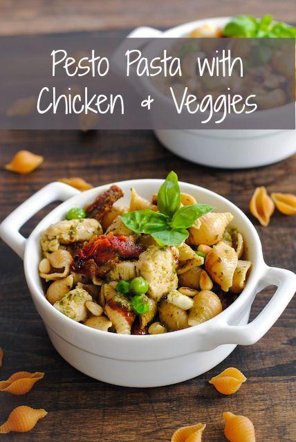Pesto Pasta with Chicken & Veggies - Need an effortless dinner idea ...