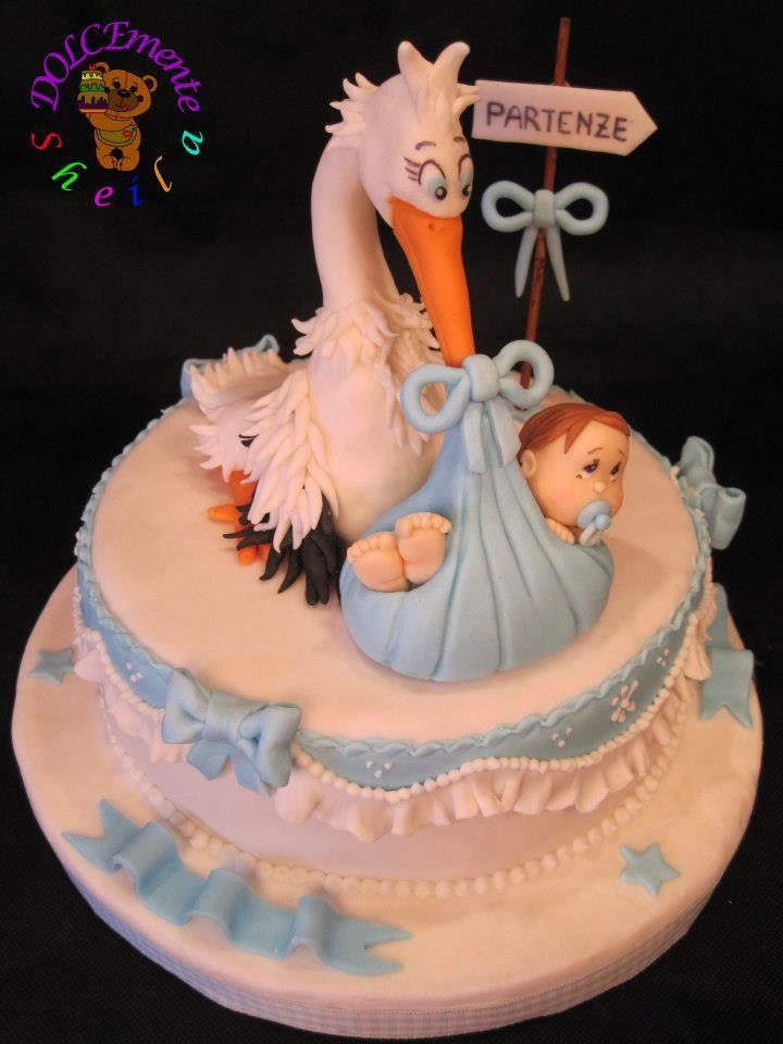 Stork baby shower cake cake art pinterest for Baby shower stork decoration