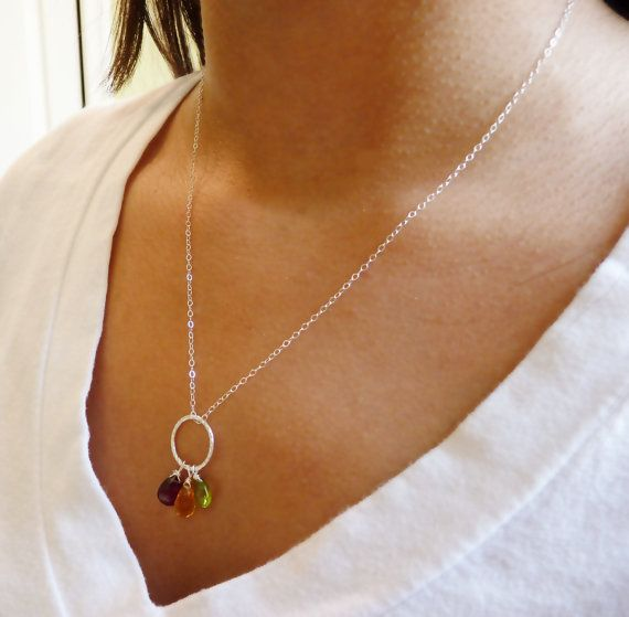 Mother birthstone necklace