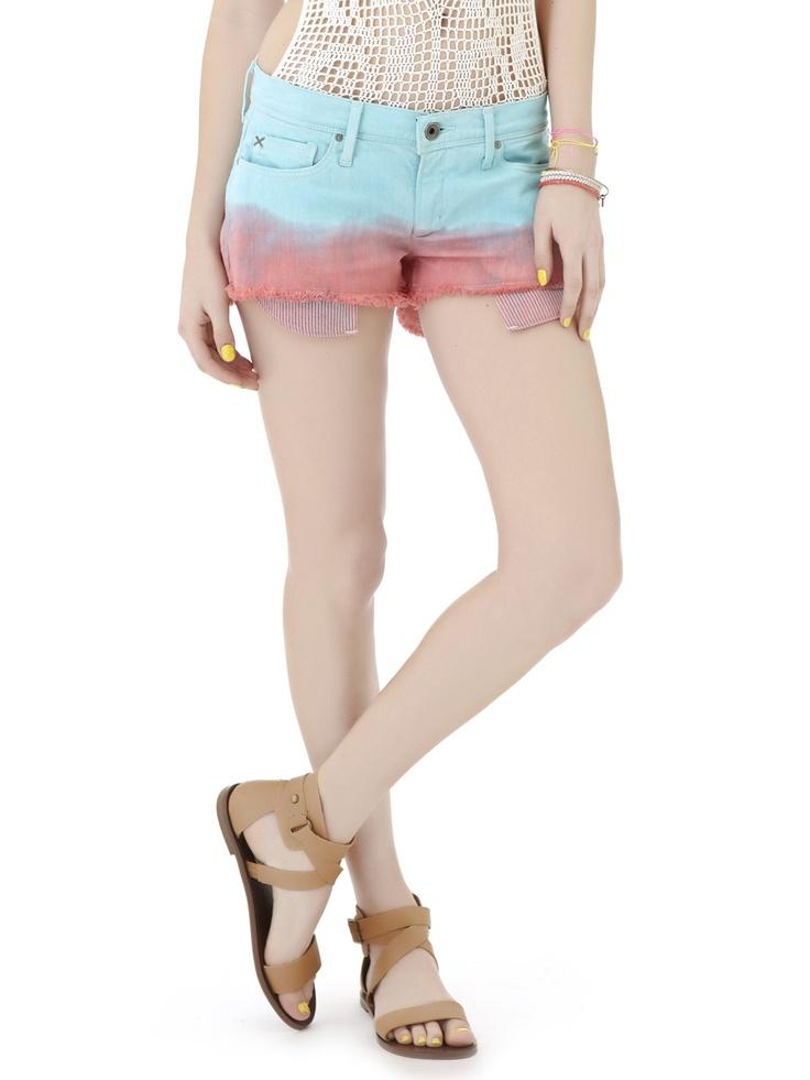 dip dye jean shorts