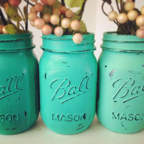 Painted distressed mason jars ombre emerald sea glass green vase vintage centerpiece wedding decor ball kerr or rustic wedding Pantone on Etsy, $21.00