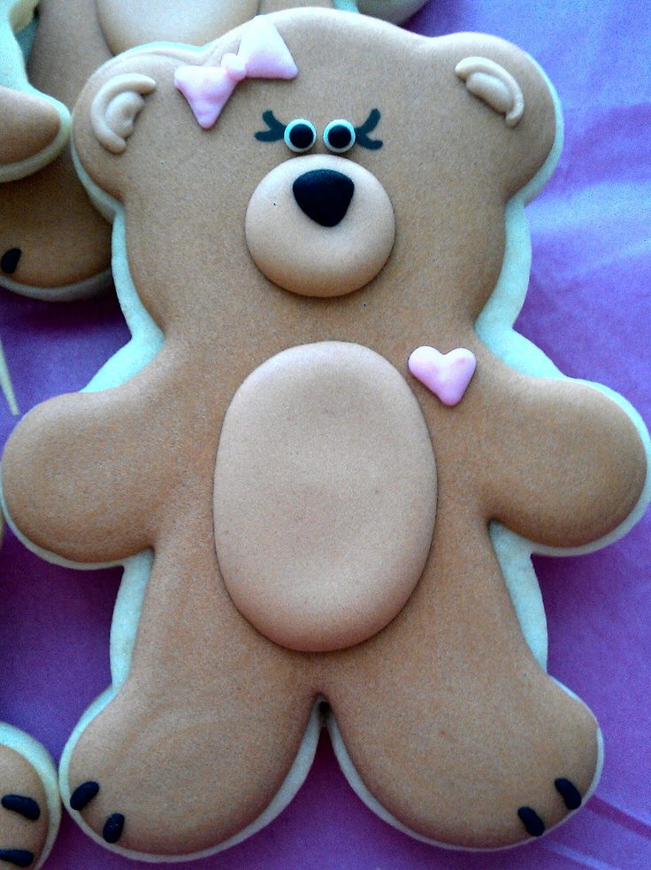 Little Girl Teddy Bear Cookie Decorated Cookies Pinterest