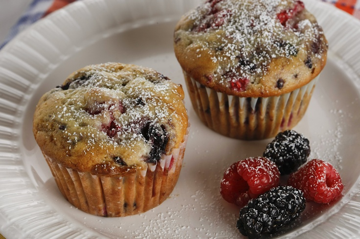 ... muffins recipe at http://lensandladle.com/cherry-and-berry-muffins