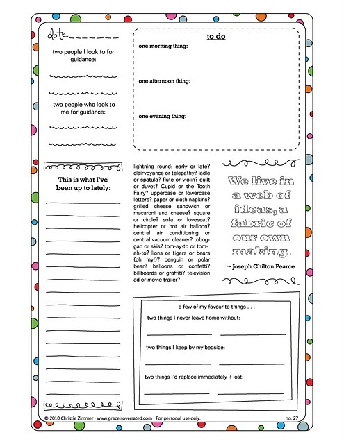 Journaling prompts - in the form of printable journal sheets.