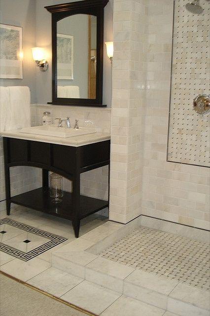 Walk in shower no doors interior design pinterest - Walk in shower no door ...