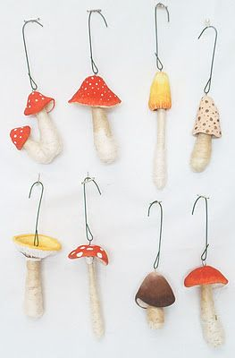 Handmade decor - Mushroom Ornaments crafted by Vintage by Crystal.