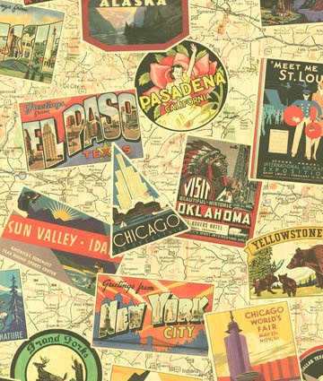 ... Old Newspaper Map Retro Wallpaper Hollywood Bar Shop Travel - K-A's