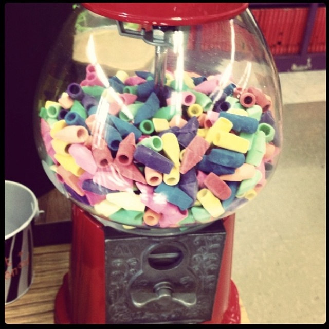 Gumball machine as an eraser machine!