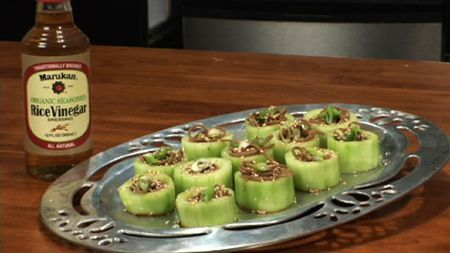 Chilled Soba Noodles in Cucumber Cups ~Easy and Elegant