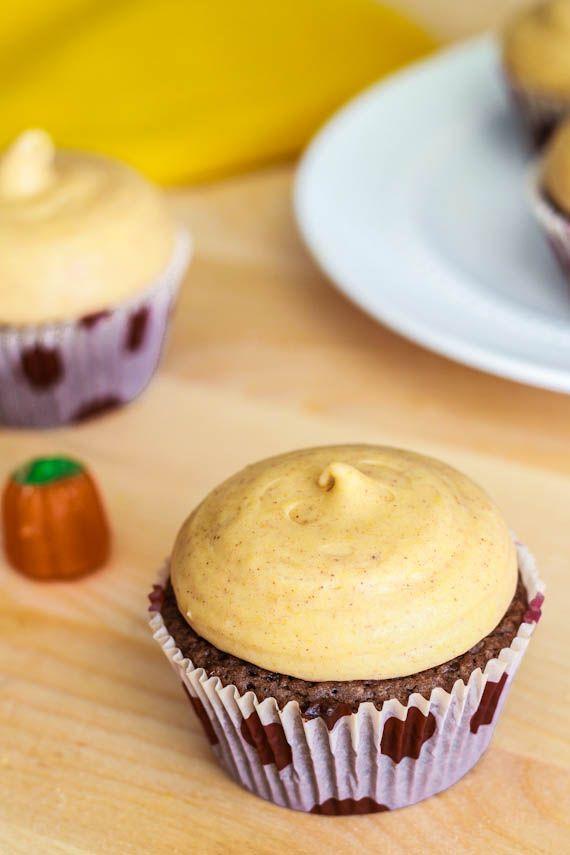 Fudge Brownie Cupcakes with Pumpkin Cream Cheese Frosting