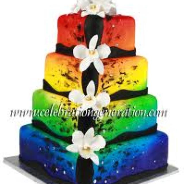 Rainbow Wedding Cake Design : Rainbow wedding cake. Wedding Ideas Pinterest