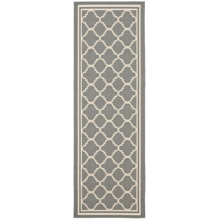 Safavieh anthracite gray beige indoor outdoor runner rug for Indoor outdoor runners rugs