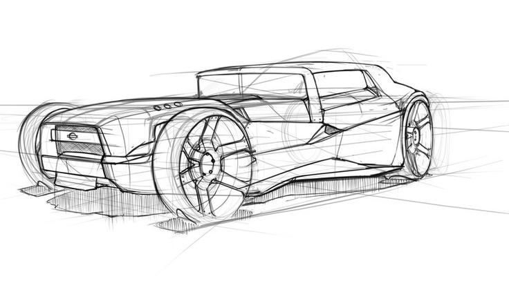 Поэтапный рисунок автомобиля с окружением карандашом