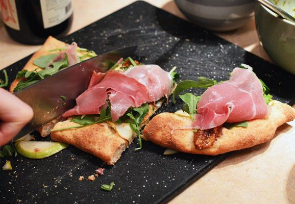 Fig and Goat Cheese Pizza with Prosciutto and Arugula