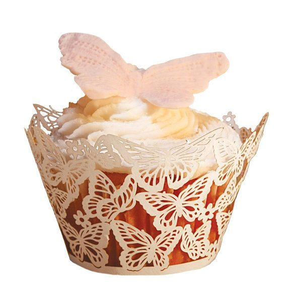 24pcs Butterfly Lace Damask Laser Cut Cupcake by dreammadestudio, $12.00