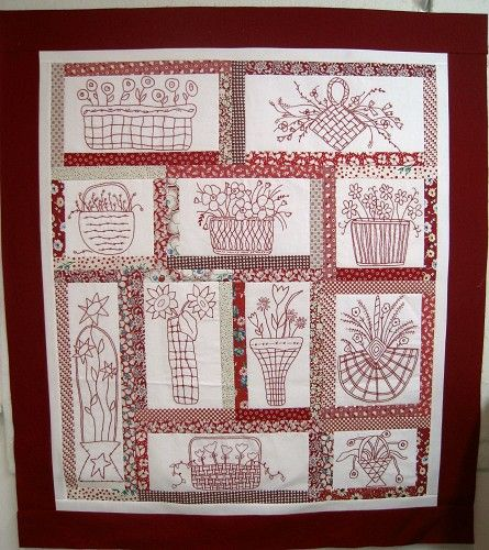 Embroidery Patterns For Quilt Squares : Embroidered quilt blocks red work Pinterest