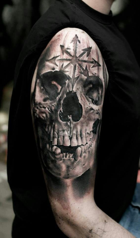 Skull and engraved chaos star. | Body Modification ...