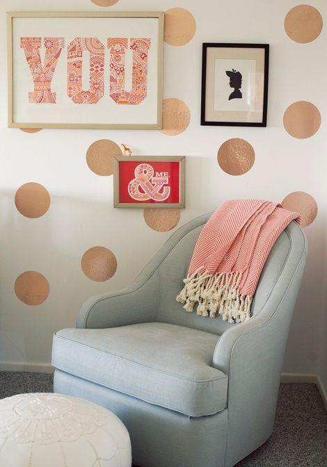 Simple nursery ideas : Coral with gold polka dot nursery wall