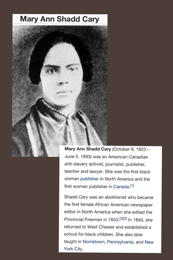 mary ann shadd cary Mary ann shadd (1823-1893) in october 1823, mary ann shadd was born, the first of 13 children of free negro, to harriet and abraham shadd, prominent freeborn abolitionists in wilmington, delaware at the age of ten, the shadd's moved to west chester, pennsylvania where mary attended a quaker school for the next six years.