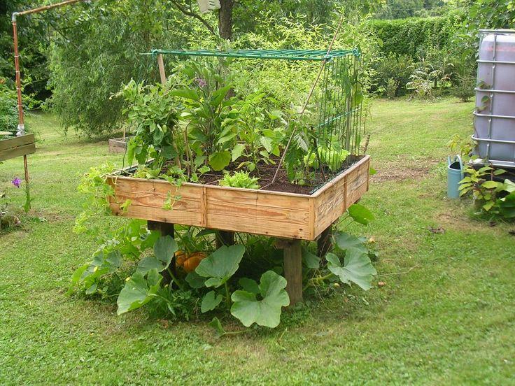 Id e pour potager carr jardin pinterest for Jardin en carre en hauteur