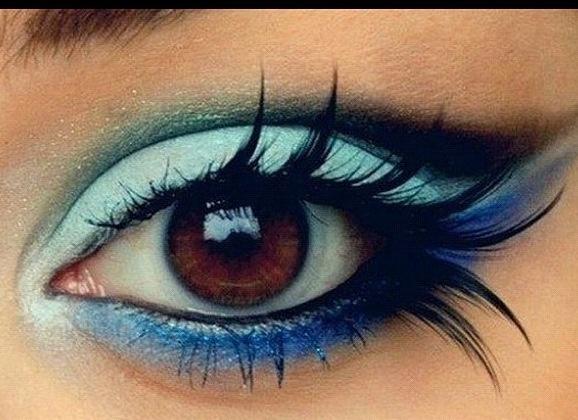 eyelashes, blue eye shadow
