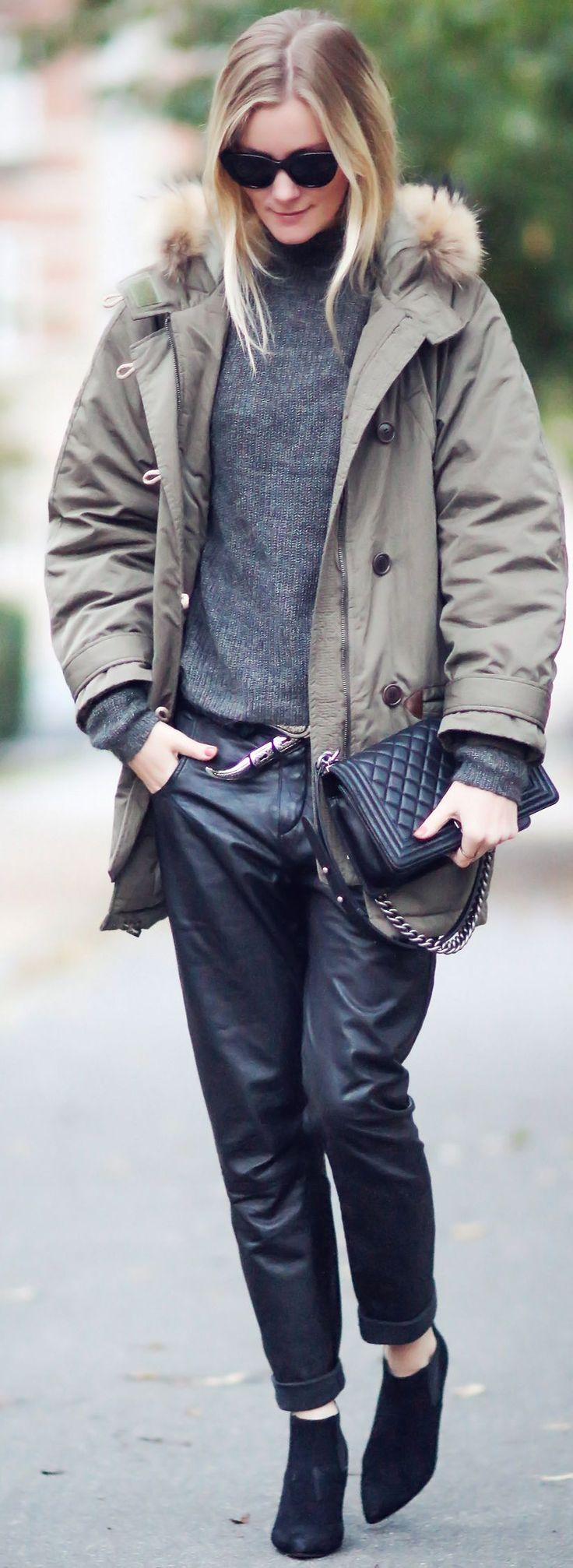 Fall Style Inspiration - khaki + grey + black leather.