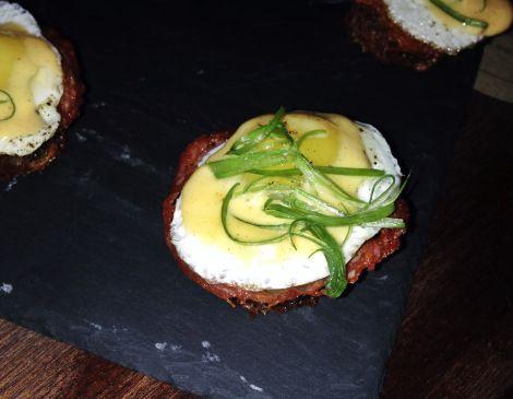 Quail Eggs Benedict, Hash Browns, Chorizo (from Cata - http://bit.ly ...