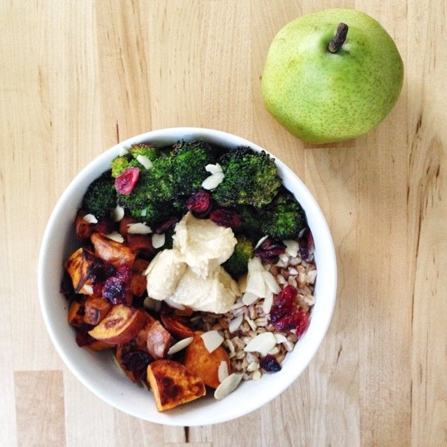- Bowl of farro, roasted sweet potatoes, roasted broccoli, hummus ...