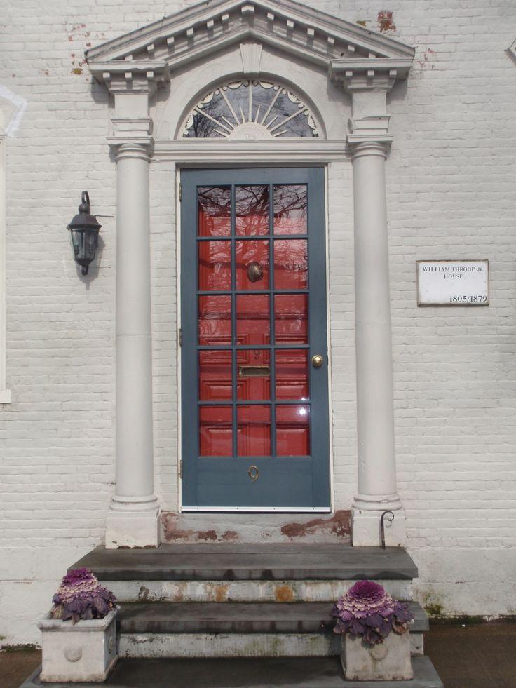 Orange door with slate blue storm door gorgeous for Slate blue front door
