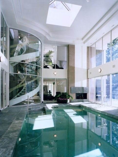 indoor pool and glass staircase, check