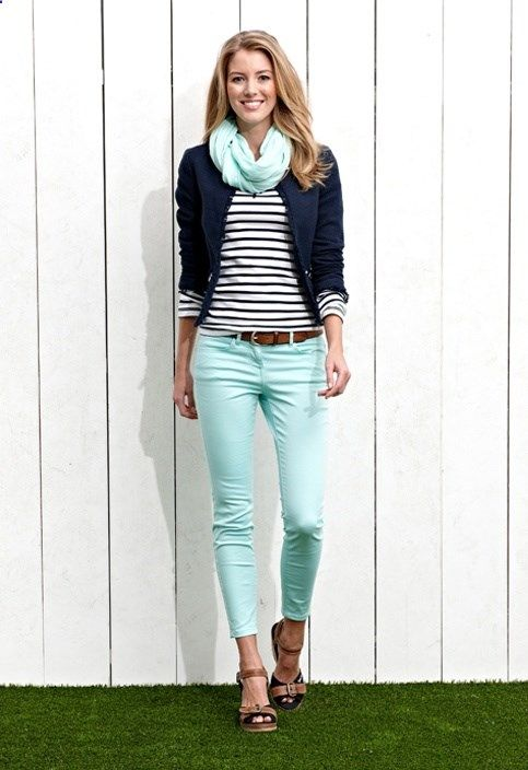 Skinny mint jeans, navy / white stripe top, navy blazer, mint green scarf, tan wedge sandals