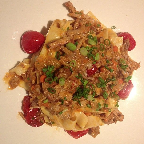 ... tagliatelle pasta with braised pork ragu, roasted cherry tomatoes at #