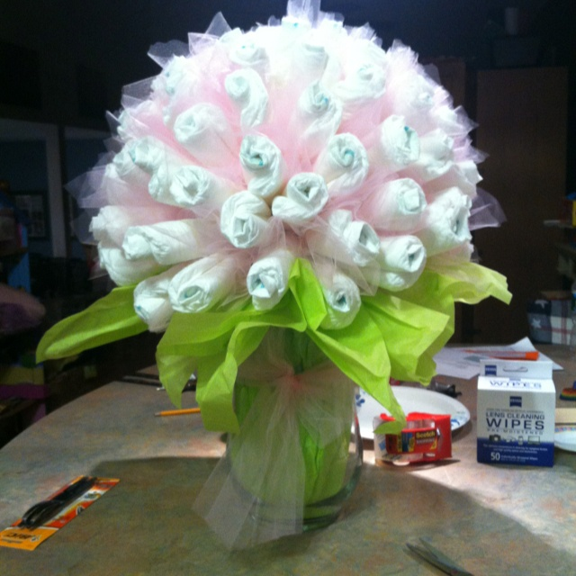 Diaper bouquet baby shower ideas pinterest for Pink diaper bouquet