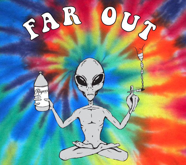 far out alien tie dye shirt insanityo o