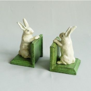 BUNNY RABBIT BOOKENDS VINTAGE CAST IRON