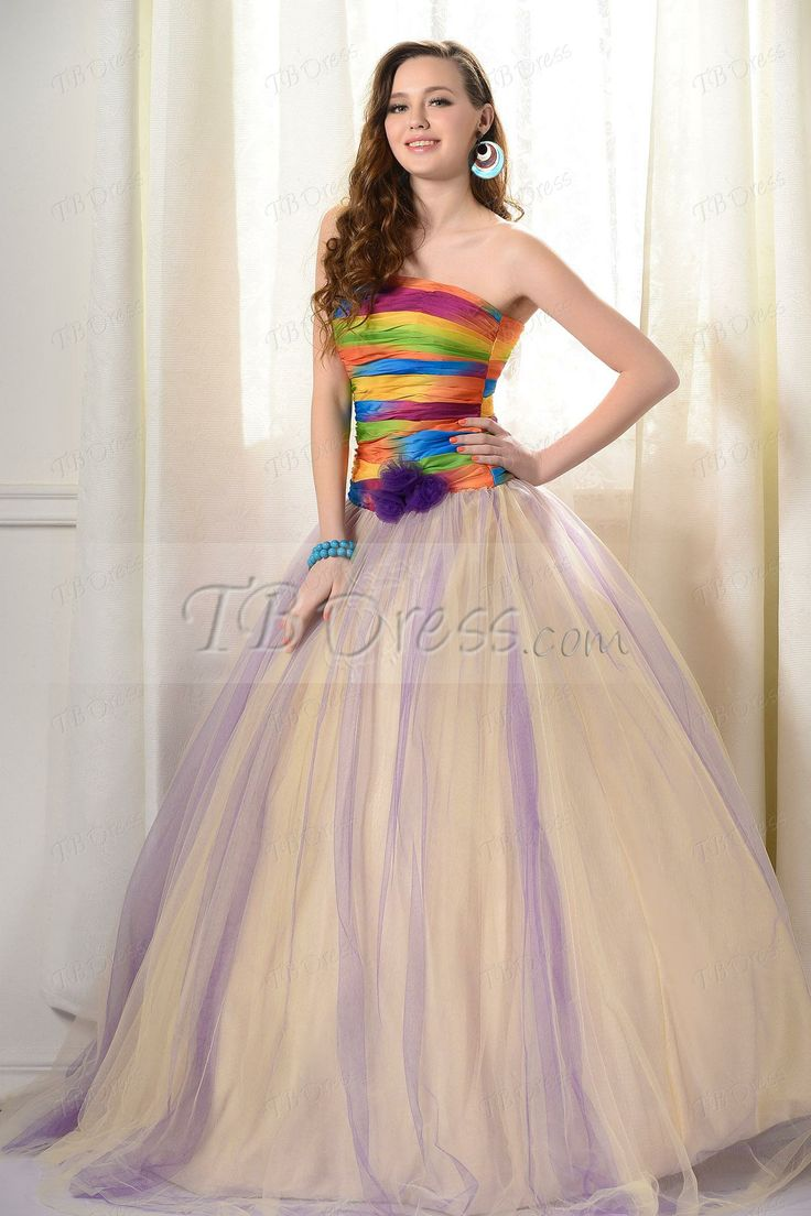 ... Ball Gown Strapless Flowers Long Prom/Quinceanera Dress : Tbdress.com
